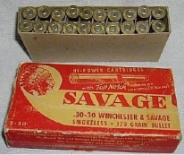 Photo of Native American Indian image along with the name of the bullets Savage