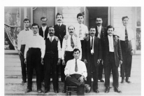 Photo of 1909 photograph of Abdeen Jabara's father standing with other men from