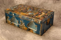 Photo of a galvanized traveling trunk.