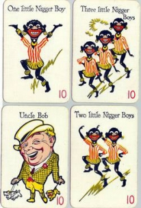 Image of cards with racist stereotypical cartoon decorations.