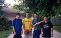 Photo of four teenage Arab American boys