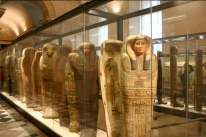 Photo of sarcophagi exhibit at the Louvre